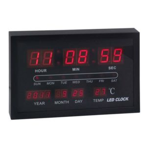 שעון קיר דיגיטלי תאריכון ומד מעלות