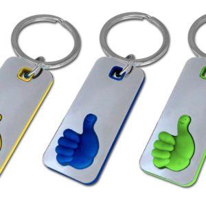 """""""מגוסטה"""" מחזיק מפתחות מתכתי עם סימון לייק"""