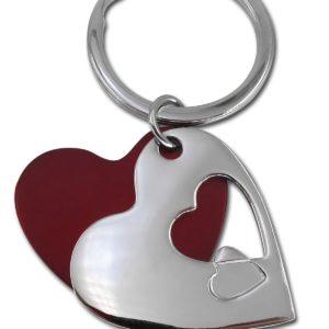 """""""לאב"""" מחזיק מפתחות מתכת לב אדום וניקל"""