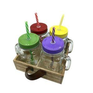 ארבע כוסות מגש עץ