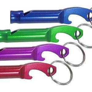 מחזיק מפתחות משרוקית חילוץ משולב פותחן